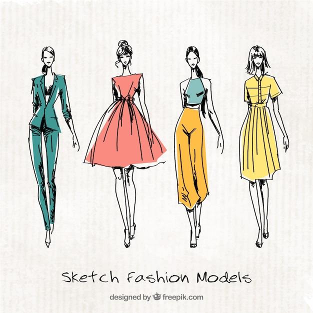 ファッションモデルの4かわいいスケッチ 無料ベクター