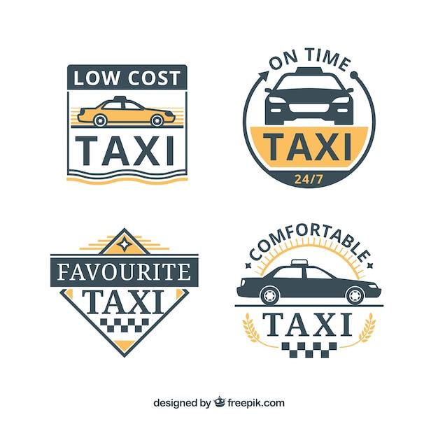 フラットなデザインの4つのタクシーのバッジのセット 無料ベクター
