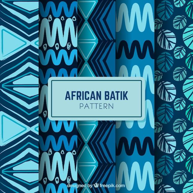 4アフリカのバティックパターンのパック 無料ベクター