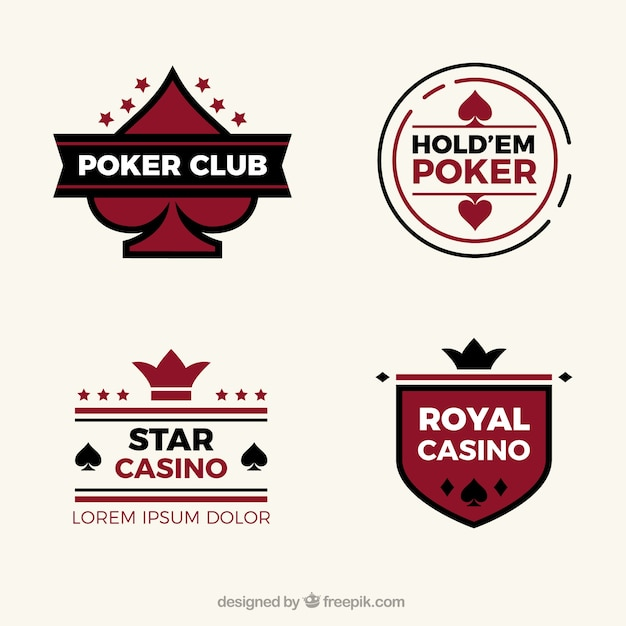 フラットなデザインの4つのカジノのロゴのコレクション 無料ベクター