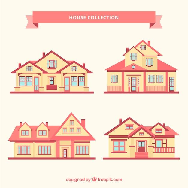 フラットなデザインの4つの大邸宅の素晴らしいコレクション 無料ベクター