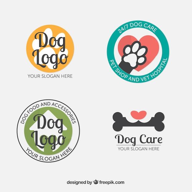 フラットなデザインの4つの幻想的な犬のロゴのセット 無料ベクター