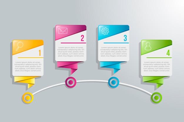カラフルなデザインとテキストの4つのステップのインフォグラフィック 無料ベクター