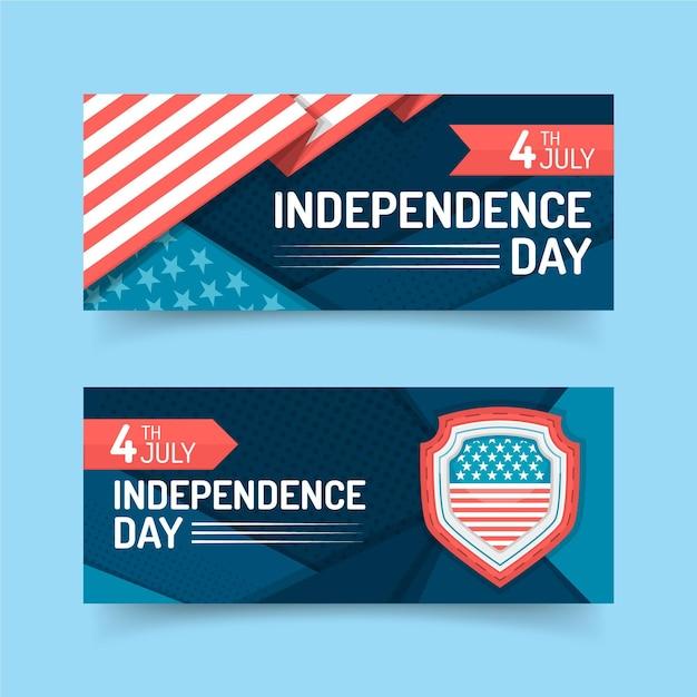 4 июля - баннеры ко дню независимости Бесплатные векторы