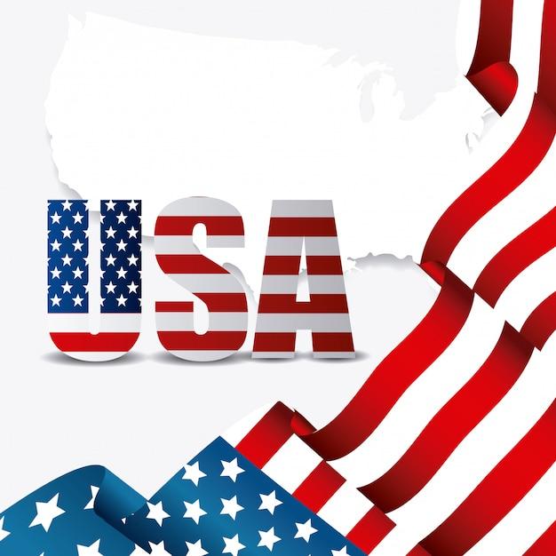 Сша дизайн. день независимости 4 июля Бесплатные векторы
