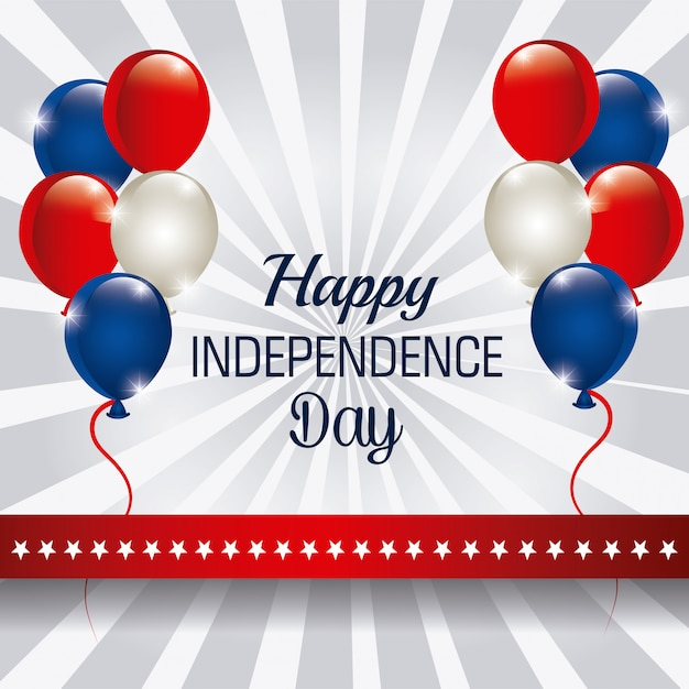 С днем независимости, 4 июля, сша дизайн Бесплатные векторы