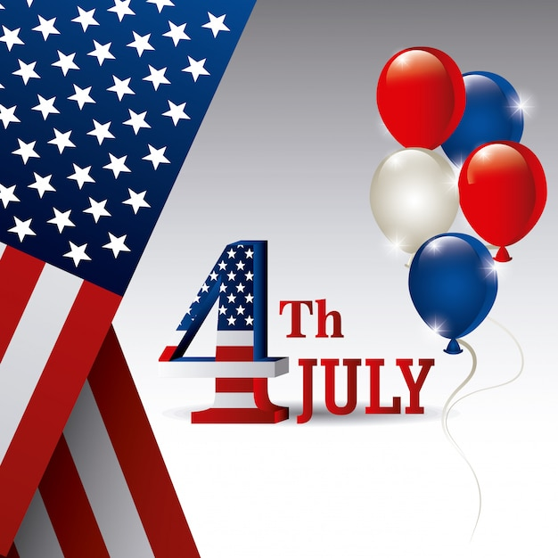 Открытка с днем независимости, 4 июля, сша дизайн Бесплатные векторы