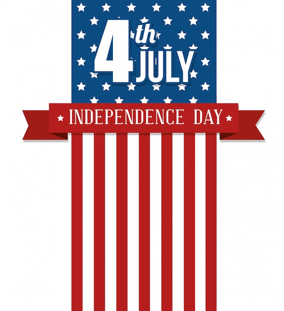 Сша с днем независимости, празднованием 4 июля Бесплатные векторы