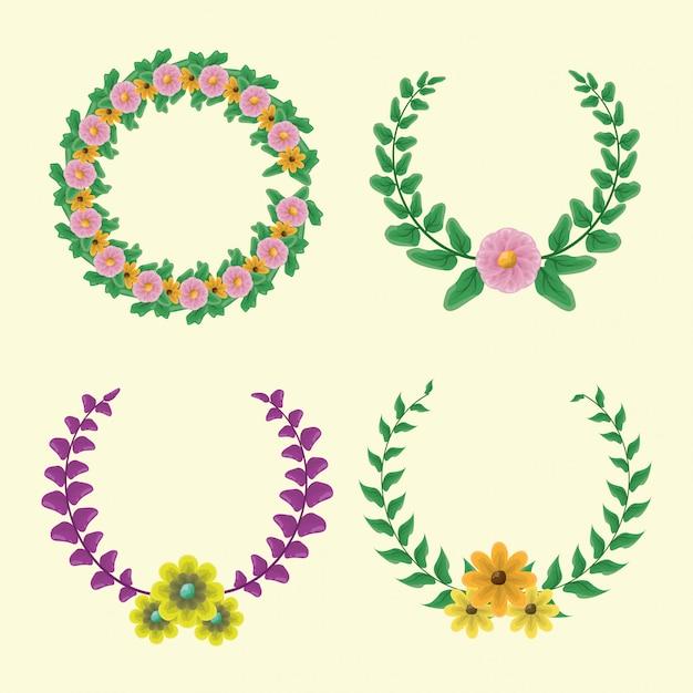 黄色とピンクの花と緑と紫の色と4月桂樹の花輪のセット 無料ベクター
