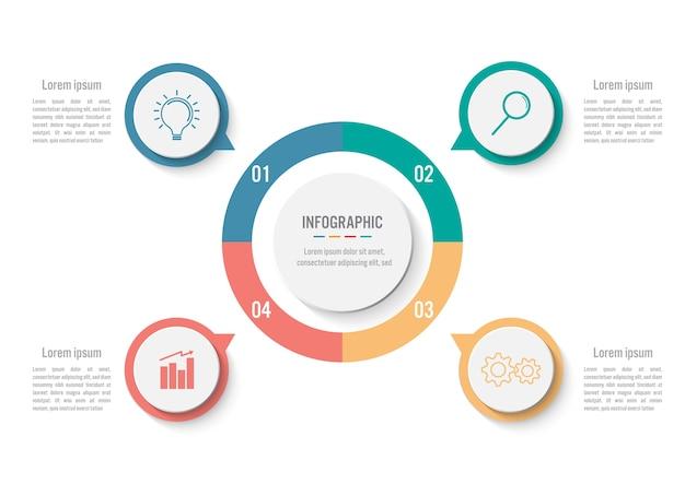 Бизнес-инфографический шаблон с 4 вариантами Premium векторы