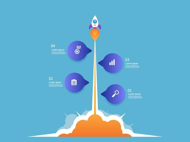 ロケットランチャービジネススタートアップ垂直タイムラインインフォグラフィック4ステップのベクトルの背景のイラスト Premiumベクター