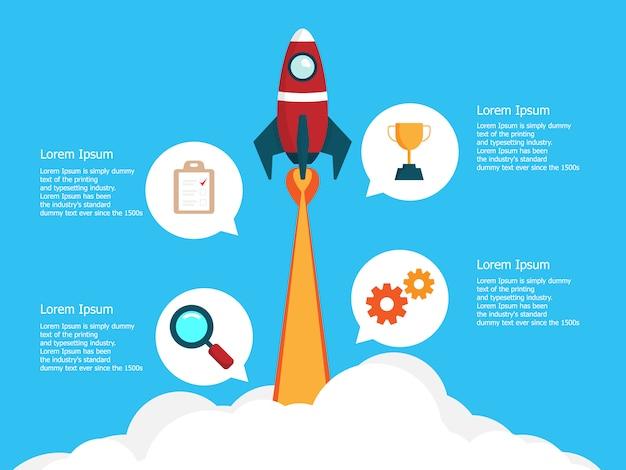 Инфографики шаблон с 4 шага запуска бизнеса с запуском ракеты Premium векторы