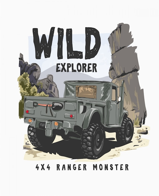 野生の図で4輪トラックとタイポグラフィスローガン Premiumベクター