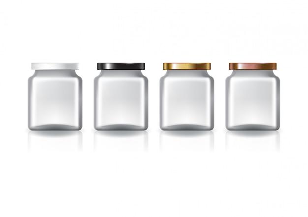 4色の平らなふたが付いている空白の明確な正方形の瓶。 Premiumベクター
