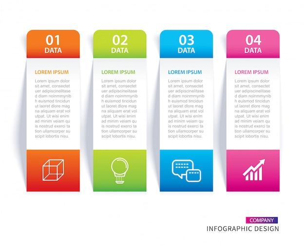 インフォグラフィックタブ紙インデックス4データテンプレート Premiumベクター