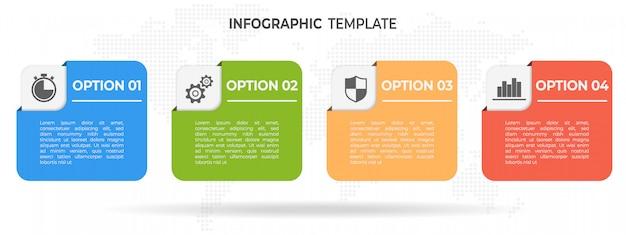 モダンな要素タイムラインインフォグラフィック4オプション。 Premiumベクター