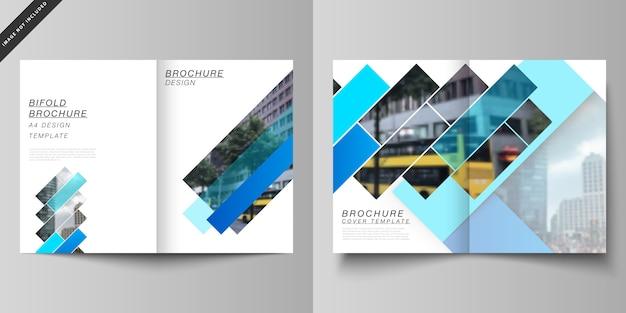 Макет двух современных шаблонов макетов обложки формата а4 для двойной брошюры Premium векторы