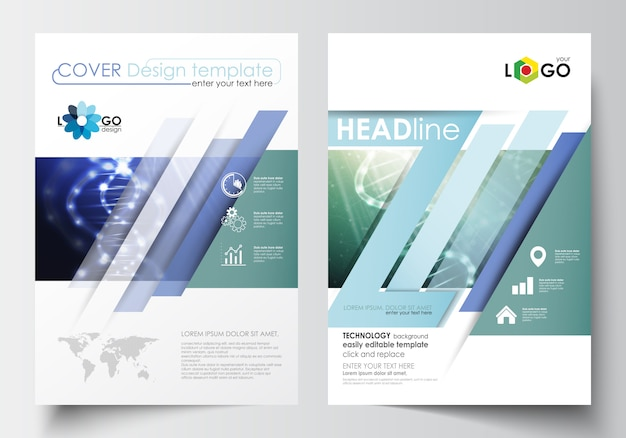 Шаблоны для брошюры, журнала, флаера, буклета. шаблон оформления обложки в формате а4. Premium векторы