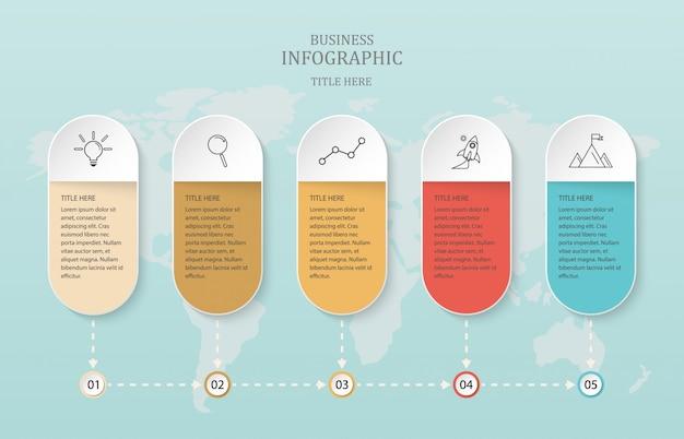 ビジネスコンセプトと世界の背景のための紙4のオプション。 Premiumベクター