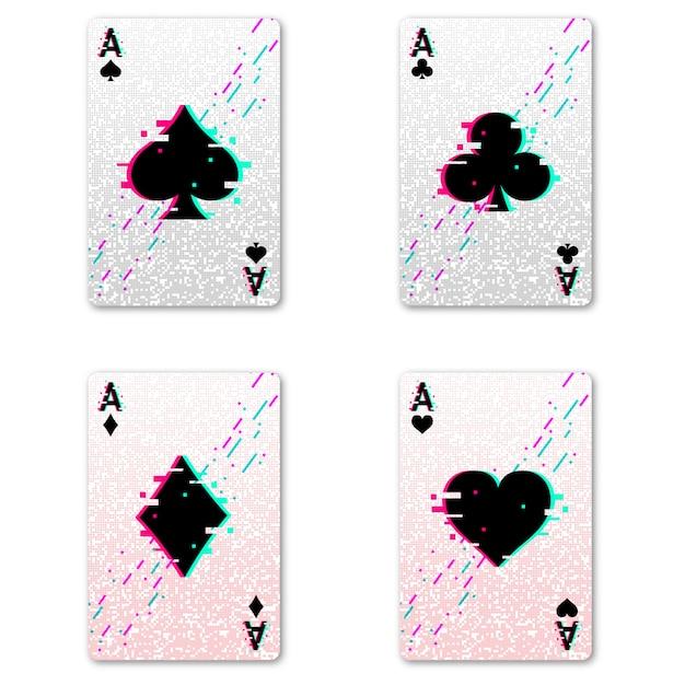 ポーカーとカジノをプレイするための4つのエースを設定してください。 Premiumベクター