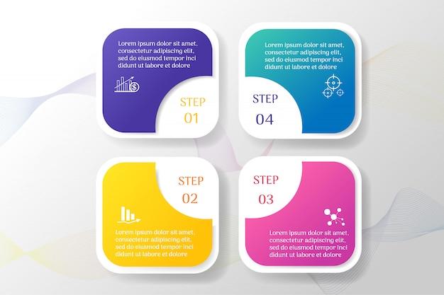 ビジネステンプレート4オプションインフォグラフィックチャート要素 Premiumベクター
