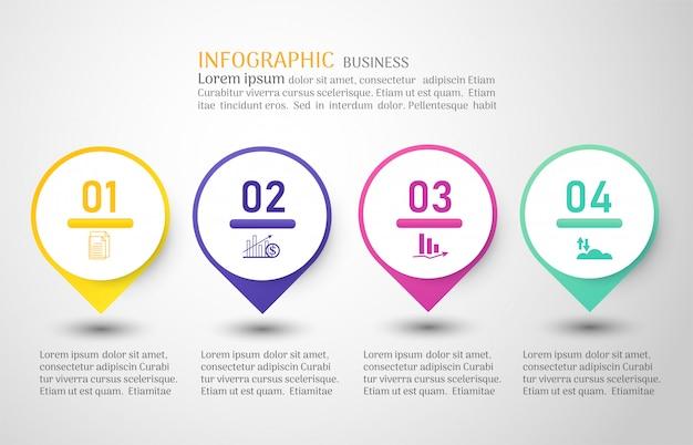 ビジネステンプレート4オプションまたは手順インフォグラフィックグラフ要素。 Premiumベクター