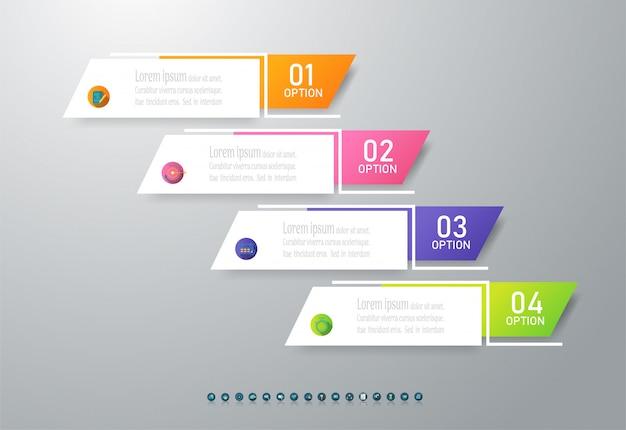 デザインビジネステンプレート4オプションインフォグラフィックグラフ要素。 Premiumベクター
