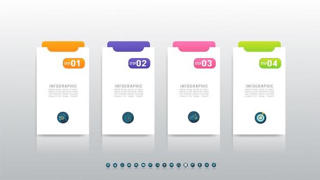 ビジネスインフォグラフィック4オプショングラフ要素をデザインします。 Premiumベクター