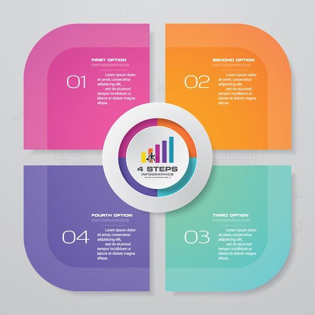 4 этапа процесса инфографики. Premium векторы