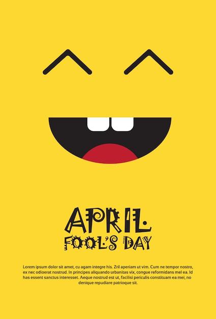 笑顔の最初の4月の愚か者の日ハッピーホリデーグリーティングカード Premiumベクター