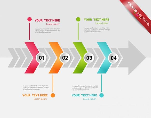 4つのオプションを備えたインフォグラフィックテンプレートのプレゼンテーション Premiumベクター