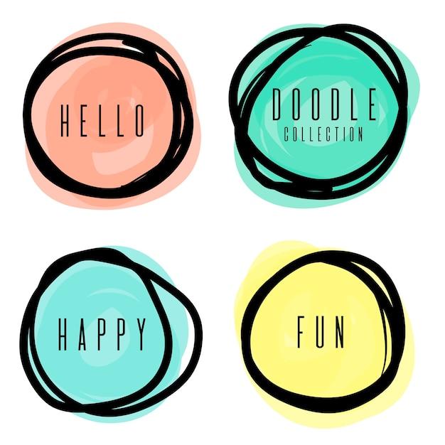 4つの異なる色で円を描く Premiumベクター