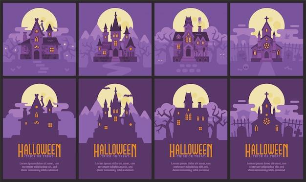 4つのハロウィーンの家とチラシ。魔女小屋、ヴァンパイア城、お化け屋敷、墓地礼拝堂 Premiumベクター