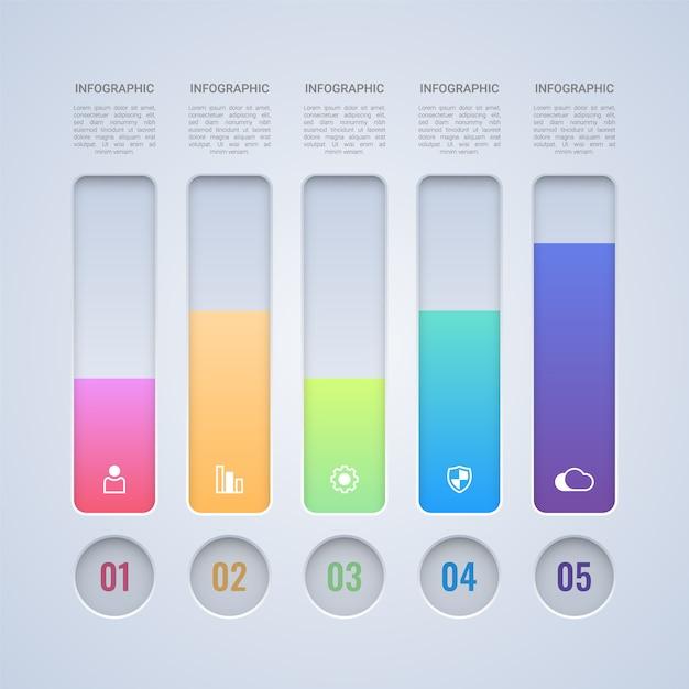 4つのステップカラフルなバーのインフォグラフィックテンプレート Premiumベクター
