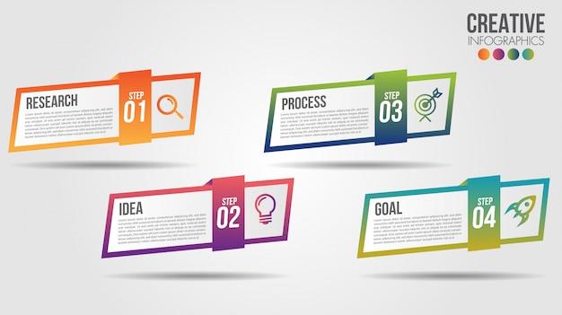 アイコンと4つの番号オプションまたは手順のビジネスインフォグラフィックタイムラインデザインテンプレート Premiumベクター