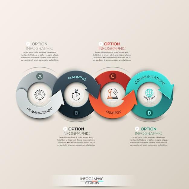 4部矢印プロセスとモダンなインフォグラフィックオプションのバナー。 Premiumベクター