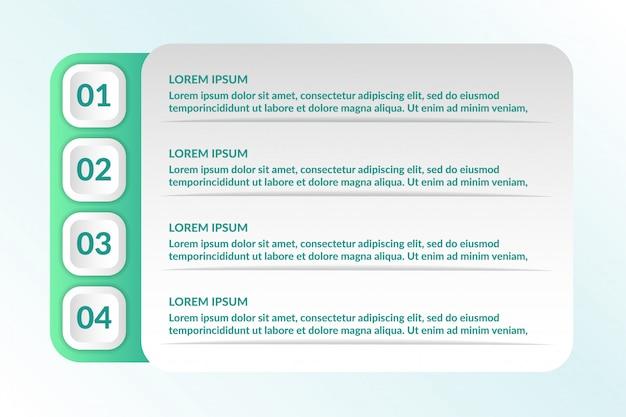 Инфографический дизайн с 4 списками Premium векторы