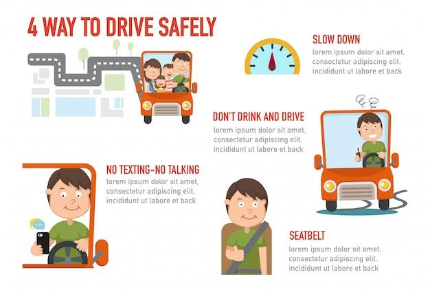 安全に運転する隔離された4つの方法の図 Premiumベクター