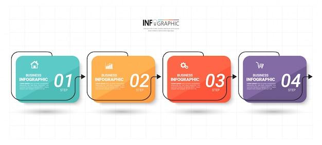 Инфографика шаблон с 4 шагами Premium векторы