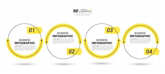 4 шага хронология инфографика дизайн шаблона. Premium векторы