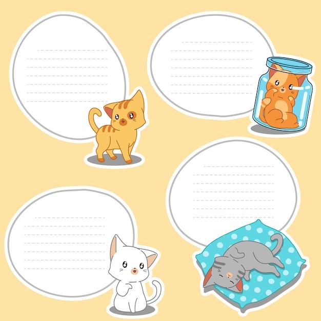 描かれた小さな猫の4紙の空白。 Premiumベクター