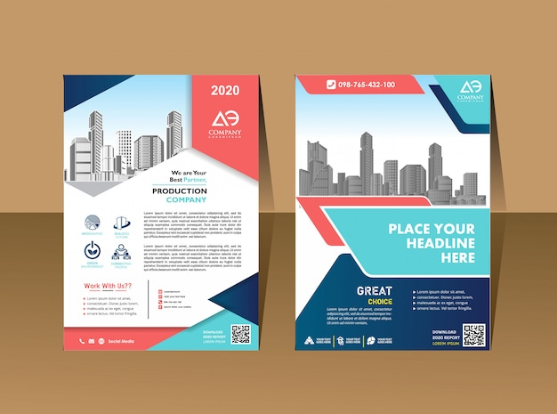 Шаблон обложки формата а4 дизайн бизнес брошюры обложка годового отчета Premium векторы