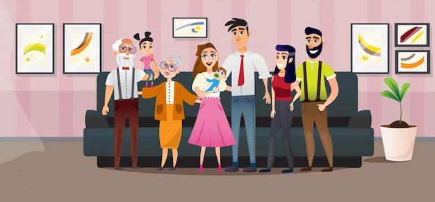 ポスター大家族4世代漫画フラット。 Premiumベクター