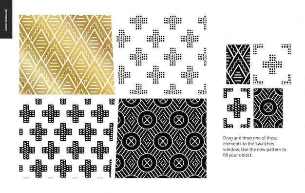 手描きのパターン -  4つの抽象的なシームレスパターンのグループセット - 黒、金と白。幾何学的な線、点および形 - 部分 Premiumベクター