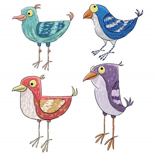 4つのヴィンテージのかわいい鳥のイラスト Premiumベクター