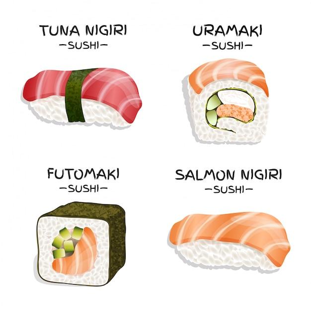 4つの現実的な寿司のセット Premiumベクター