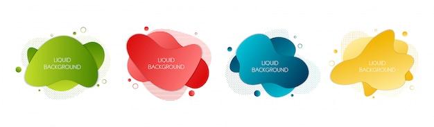 4抽象的な現代グラフィック液体要素のセットです。 Premiumベクター