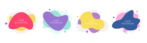 Набор из 4 абстрактных современных графических жидких элементов Premium векторы