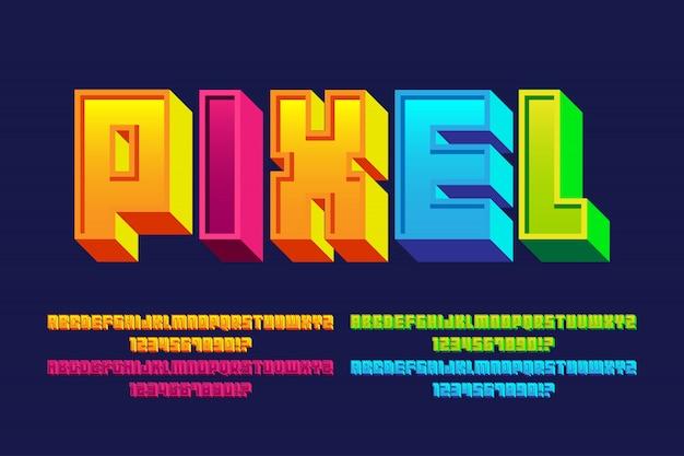 Пиксельные шрифты алфавитов с эффектом 4 стиля Premium векторы