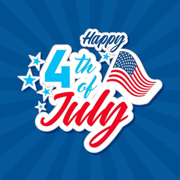 Поздравительная открытка с 4 июля. Premium векторы